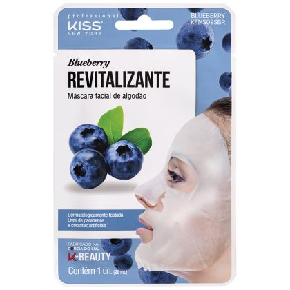 Máscara Facial De Algodão Blueberry Revitalizante - Kiss NY