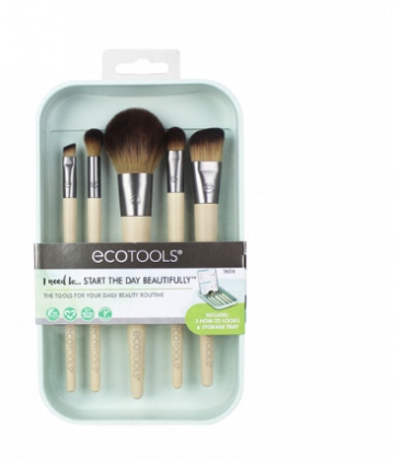 Kit com 5 Pincéis Essenciais Start the Day Beautifully N° 1606  - Ecotools
