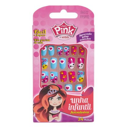 Unhas Pink Infantil Pop Princess - Bichinhos - Kiss New York